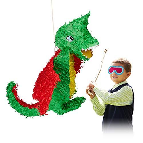 inata Drache, zum Aufhängen, Kinder, Mädchen & Jungs, Geburtstag, zum Befüllen, Papier, große Piñata, bunt ()