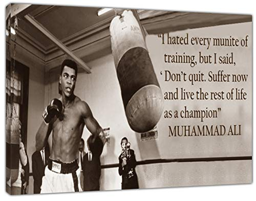 B&w 16x20 Foto (ARTSPRINTS Muhammad Ali-B/W-Holz gerahmt Leinwand Kunstdruck, 20 x 16 inch -18mm depth)