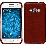 PhoneNatic Case für Samsung Galaxy J1 ACE Hülle Silikon rot brushed + 2 Schutzfolien