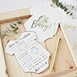 Ginger Ray White And Gold Foiled Baby Shower Advice Cards - 10 Pack - Oh Baby!