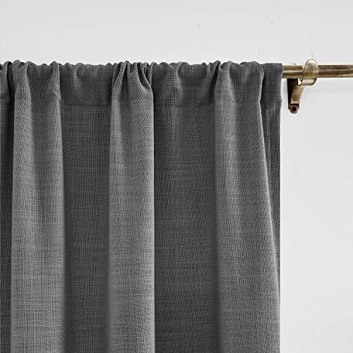 ChadMade 305 x 214 cm (B x L) Carbon Grau Leinen mit Blackout Lining Vorhang, Blickdicht Vorhänge Rod Pocket Gardinen für Glas-Schiebetüren, Terrassentüren, Wohnzimmertür (1 Panel)