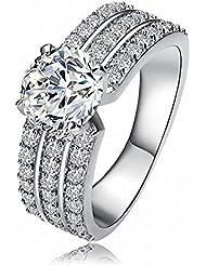 AnaZoz joyería Art mujeres Bride anillo Platinum oro 18 K plateado circonios incrustaciones anillos