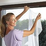 Fliegengitter Fenster Mesh schwarz mit Klettband zur Befestigung–Moskitonetz für Fenster, Schwarz–Größe 130x 150, einstellbar–Montageanleitung, einfache Montage und effizient