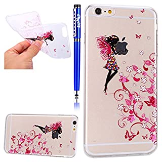 EUWLY Silikon Hülle für [iPhone 8/iPhone 7], Ultra Dünn Soft Flex Silikon Schutzhülle Handy Tasche für iPhone 8/iPhone 7, Schmetterling Blumen Bunte Muster [Crystal Clear] TPU Silikon Durchsichtige S