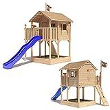 ISIDOR Holzbau ISIDOR Killimando Spielturm Kletterturm Baumhaus Rutsche Schaukeln (ohne Schaukelanbau, Blau)