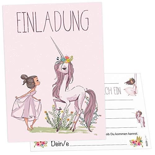 12x Prinzessin Einhorn Einladungskarten inkl. Umschläge perfekte Einladung zum Kindergeburtstag oder Kinder Party | Geburtstag-Einladungen zum ausfüllen (Princess Unicorn)
