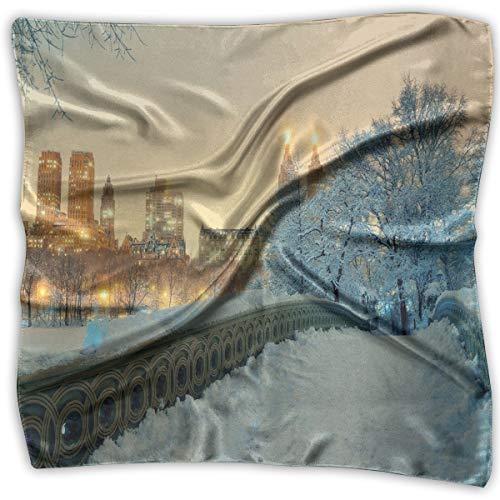 JJIAYI Mixed Designs Silk Square Scarves Bandana Scarf, Central Park Winter Season With Skyscrapers And Snow Bow Bridge Manhattan New York,Womens Neck Head Set New York Satin Bow