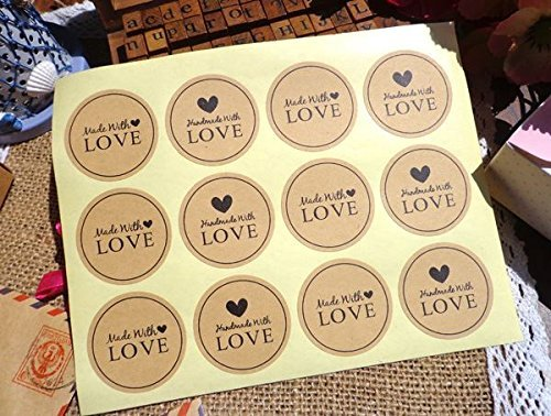 36-x-Made-with-Love-Handmade-with-love-AufkleberStickers-fr-Card-Making-Geschenkverpackungen-Weihnachten