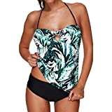 Swallowuk Damen Mode Bikini Set Push Up Bademode Badeanzüge Zweiteilig Neckholder Tankini (XL, Grün)