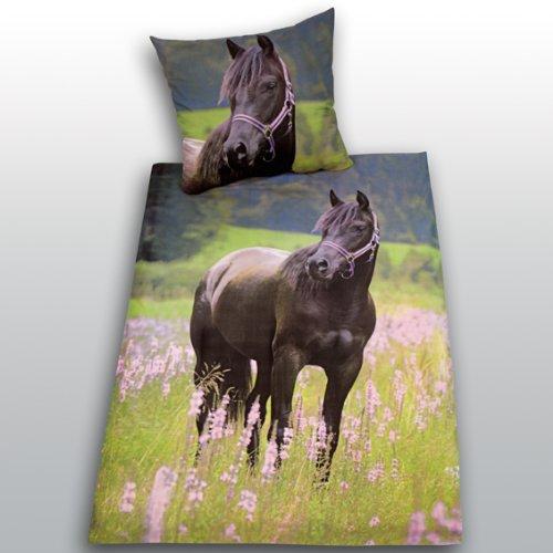 Bettwäsche Pferd Fotodruck 135x200 Biber Flanell