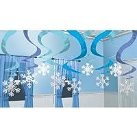 Winter Wonderland Hanging Swirl Snowflakes Christmas Decorations x 15