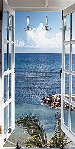 Artland Qualitätsmöbel I Garderobe mit Motiv Holz Bedruckt und Metall Haken Landschaften Fensterblick Fotografie Blau G3FP Fenster Zum Paradies