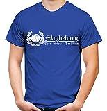 Magdeburg Ehre & Stolz Männer und Herren T-Shirt | Fussball Ultras Geschenk | M2 FB (XL, Blau)