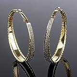 Outstanding® Rhinestone cristalino del aro pendientes redondos grandes Mate oído del perno prisionero de la superficie de la Mujer