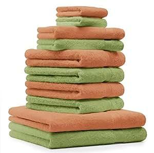 10 tlg. Handtuch Set Premium Farbe Orange & Apfel Grün 100% Baumwolle 2 Duschtücher 4 Handtücher 2 Gästetücher 2 Waschhandschuhe