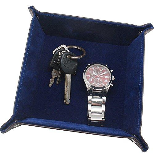 Boshiho Leder-Aufbewahrungsbox/-schale zur Ablage von Schmuck, Kleingeld, Telefon, Münzen, geeignet als Ablage für Wechselgeld oder als Aufbewahrungsbox für den Nachttisch, braun (Leder-reise-tray)