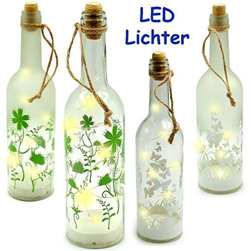 Unbekannt 1 Stück _ LICHT Dekoflasche - 10 Stück LED -  Blumen & Schmetterlinge  - Flasche mit Licht - Batterie betrieben - Dekolicht - Sommer & Winter - Dekoration -..