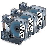 3x Recharge Compatible Dymo S0720530 Etiquette D1 12 mm x 7 m (Dymo 45013), Noir sur Blanc, Compatible avec Dymo LabelManager 160, LabelPoint 150, 250, LabelWriter 450 DUO
