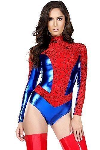 Damen 1 Stück Leotard Spiderman/Spiderwoman Superhelden Kostüm Größe (Kostüme Spiderwoman)