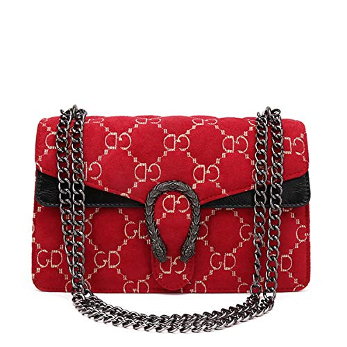 er Mode Kette Wild Gesteppte Umhängetasche Mini Cross Body Damen Handtasche Clutch Classic Abendtasche Samt Rot Groß ()