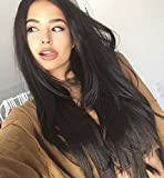 Vébonnie Natural Black Synthetic Lace Front Wig for Black Women Realistic Looking Long Hair Wavy Wigs Perfect for Daily and School Heat Resistant 24 Inches (Colour 1B natural black)