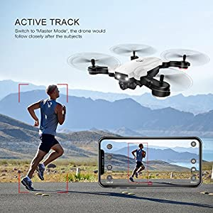 YMXLJJ Drone With Camera WIFI FPV Four-Axis Aircraft With 720P HD Dual Camera Live Video Foldable RTF 2.4Ghz 4 CH 6-Axis Gyro Automatic Follow/Gesture Photo RC Helicopter White