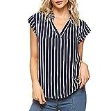 DEELIN Damen Streifen T-Shirt mit Kapuze ärmellosen Elegant Casual Tops Bluse (L, Y-Blau)