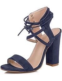 Minetom Donna Moda Sandali Tacco A Blocco Peep Toe Sandals Shoes Casuale  Beach Eleganti Partito Scarpe f1dfe1c1b22