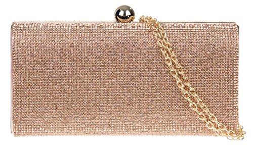 Girly HandBags Box Unterarmtasche Clutch Tasche Diamanten Champagner