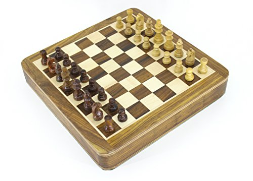 VA Wooden Magnetic Square Chess Board with A Tray Holding All Pieces Inside The Board (Size 7