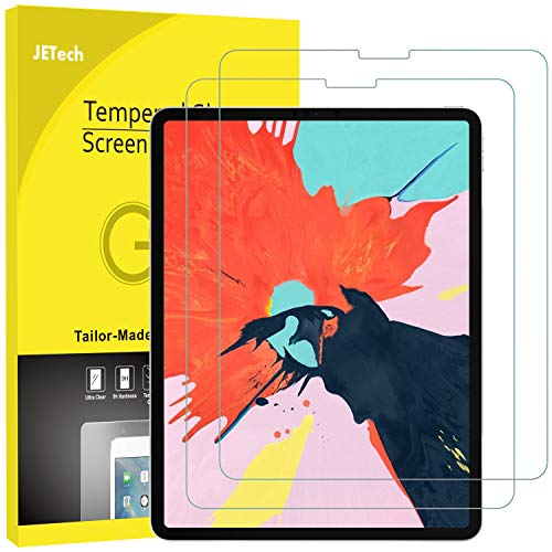JETech 2 Stück Schutzfolie für iPad Pro 12,9 Zoll (2018 Veröffentlichung Kante zu Kante Liquid Retina Display), Gehärtetem Glas Panzerglas Displayschutzfolie