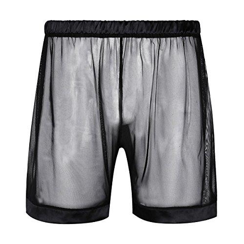 iEFiEL Herren Boxer Boxershort Unterhose Männer Unterwäsche Basic Boxershorts Transparent Retroshort Boxer Briefs Trunks Reizwäsche M-XL Schwarz X-Large