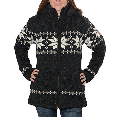 Klassische Damen Strickjacke Wolle Jacke mit Fleecefutter und Kapuze von Kunst und Magie, Größe:XL, Farbe:Schwarz / Weiß (Klassische Damen-strickjacke)
