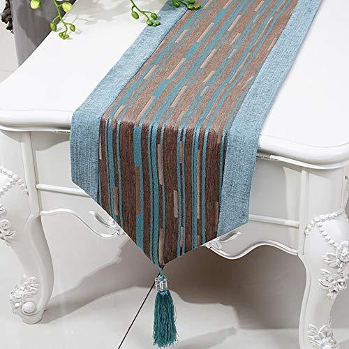 XQY Home Tischdecke, rechteckige Tischdecke, Tischdecke für Hotelrestaurants, Tischläufer aus Baumwolle mit Doppeldecker, verdicken Quasten im ethnischen Stil,Braun blau,33 * 150 cm - Mittlere Rechteckige Couchtisch