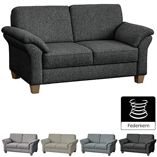 CAVADORE 2-Sitzer Byrum im Landhausstil / Große Couch mit Federkern / 156 x 87 x 88 / Grau (Sofas Und Sofas Mit Sessel)