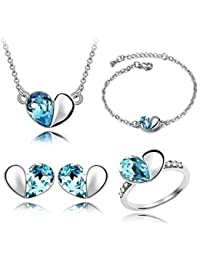 Valentine Gift By Shining Diva Crystal Jewellery Combo Of Necklace Set / Pendant Set With Ring Earrings And Bracelets...
