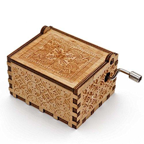 HuWei Caja de música, Bonito Mecanismo de Madera Grabado, Caja de Regalo para Navidad, cumpleaños, día de San Valentín, Happy Birthday