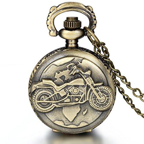 Jewelrywe Orologio da Tasca a Quarzo Moto Inciso Collana in Lega Bronzeo Vintage