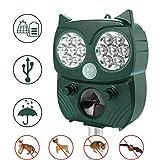 Repellente Gatti, Energia Solare Repellente Ultrasuoni per Gatti, Cani, Topi, Uccelli, Martora e Procioni, con Fequenza Regolabile e Forti luci a LED