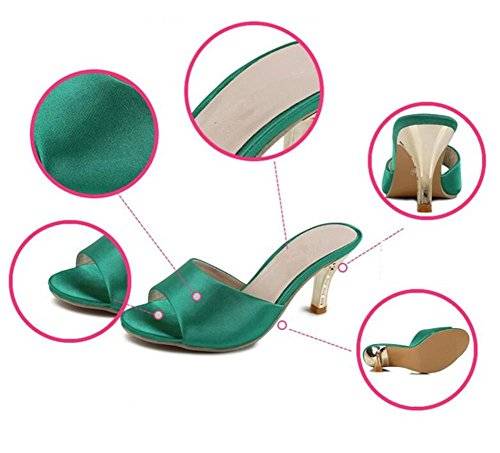 LDMB Frauen Peep Toe Exposed Toe Fine High-Heeled Pantoffeln Schuhe Sommer Solid Color Mature Green