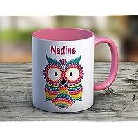 Mug à personnaliser hiboux rose - tasse à café - cadeau personnalisé - prénom - cadeau anniversaire - cadeau de noël