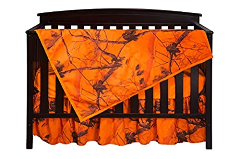Carstens Real tree AP Blaze Camo 3 Piece Crib Sheet Set, Orange