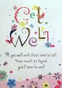 Carte de vœux pour femme Texte en anglais «Get Well» («Bon rétablissement») Texte et motifs de fleurs dorés et sur papier estampé Rose et doré