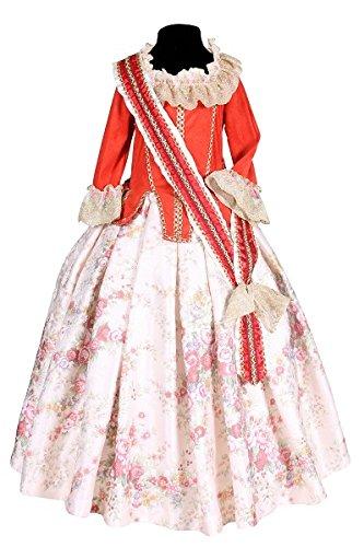 Kostüm Renaissance Kinder Mädchen - Thetru 2107 Kinderkostüm Marquise Mädchen Rot Rosa 2-Teilig Kleid Schärpe Renaissance Barock Kinderkostüm Kostüm Kinder Kind Karneval Fasching Verkleidung Rot 116