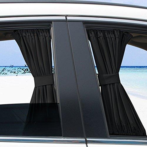 2Stück schwarz verstellbar Auto Sonnenschutz Fenster Vorhang Tuch Visier Valance Vorhang (schwarz)