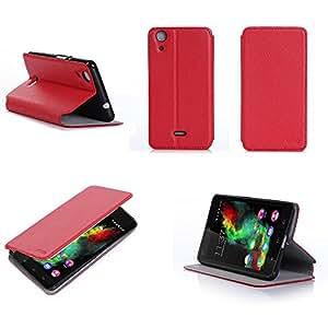 Etui Wiko Rainbow Jam 3G rouge luxe Ultra Slim Cuir Style avec stand - Housse Folio Flip Cover coque de protection smartphone Wiko Rainbow Jam 3G rouge - Accessoires pochette XEPTIO : Exceptional case !