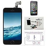 Trop Saint® Display Schwarz LCD Für iPhone SE Bildschirm Komplett mit Magnetische Schraubekarte, Werkzeug, Anleitung und Bildschirmschutzfolie