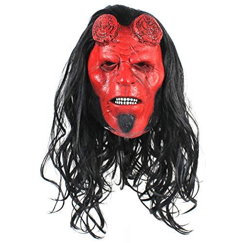 Kostüm Hellboy Erwachsenen Für - MH Horror Hellboy Vollmaske, Halloween Cosplay Kostüm Horror Requisiten Perfekt für Karneval Halloween - Kostüm für Erwachsene - Latex, Unisex