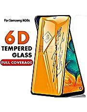 Aeidess Samsung Galaxy M30S Tempered Glass Screen Guard 6D Full Glue Cover Edge-Edge Big Curved Full HD 9H Anti-Scratch Black