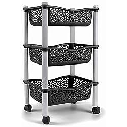 Panier chariot de stockage cuisine avec paniers de stockage et roues fruits et legumes - plastique résistant - Noir